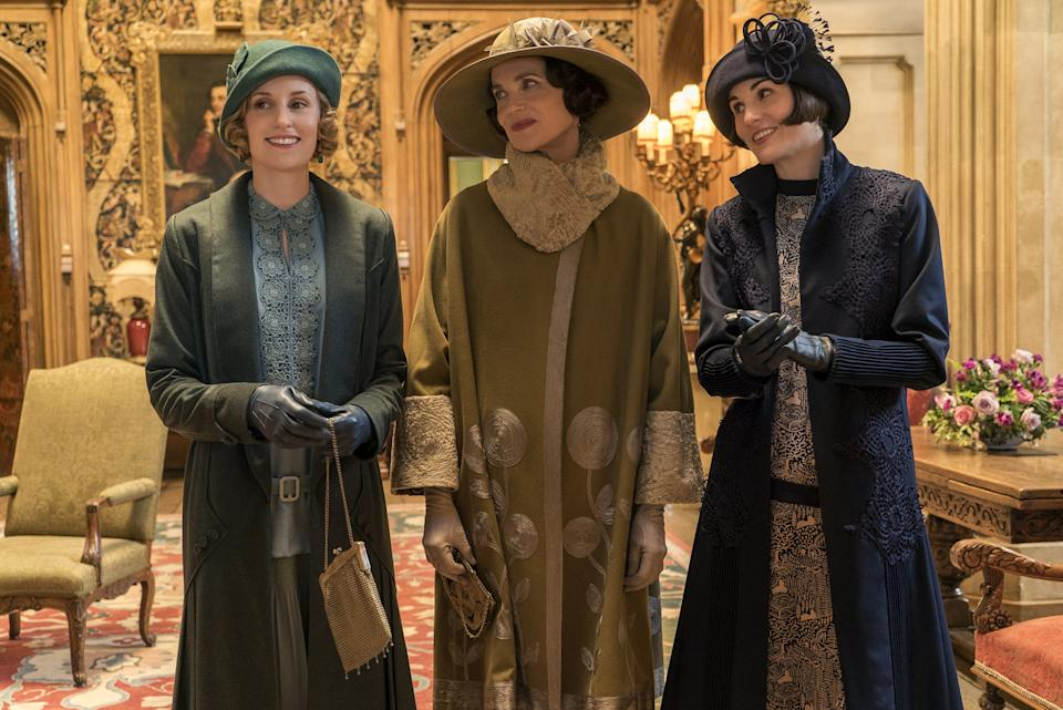 Laura Carmichael as Lady Hexham, Elizabeth McGovern as Lady Grantham, and Michelle Dockery as Lady Mary Talbot in Downton Abbey