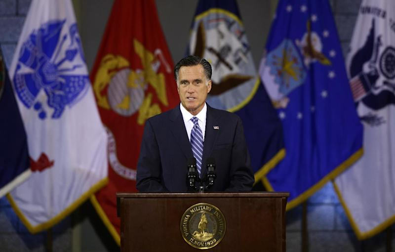 Republican presidential candidate, former Massachusetts Gov. Mitt Romney delivers a foreign policy speech at Virginia Military Institute (VMI) in Lexington, Va., Monday, Oct. 8, 2012. (AP Photo/Charles Dharapak)
