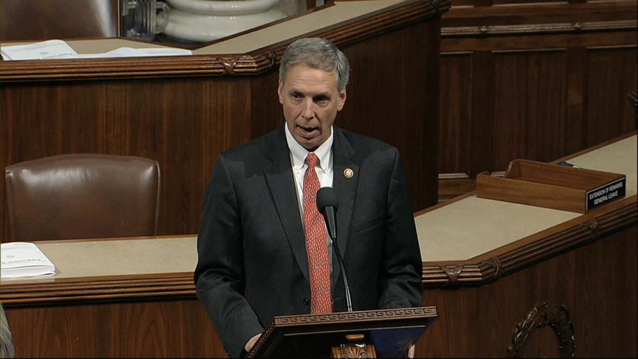 Rep. Tom Rice, R-S.C., speaks as the House of Representatives debates the articles of impeachment against President Donald Trump at the Capitol in Washington, Wednesday, Dec. 18, 2019. (House Television via AP)