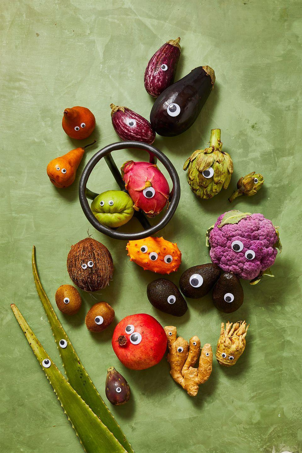 "<p>Add plastic googly eyes to any veggie or fruit to make it a monster with a dot of royal frosting. Here, we used squashes, ginger, cauliflower, artichokes, eggplants as well as fruits like pomegranate, pears, avocados, kiwis, coconuts, chayote and more. Display on your table or in a bowl, <a href=""https://virginiasin.com/products/moth-fruit-bowl?variant=27925911797865"" rel=""nofollow noopener"" target=""_blank"" data-ylk=""slk:like this one by Sin"" class=""link rapid-noclick-resp"">like this one by Sin</a>. </p>"