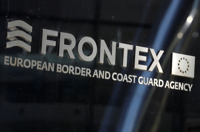Logo of EU border agency Frontex is seen at the agency's headquarters in Warsaw