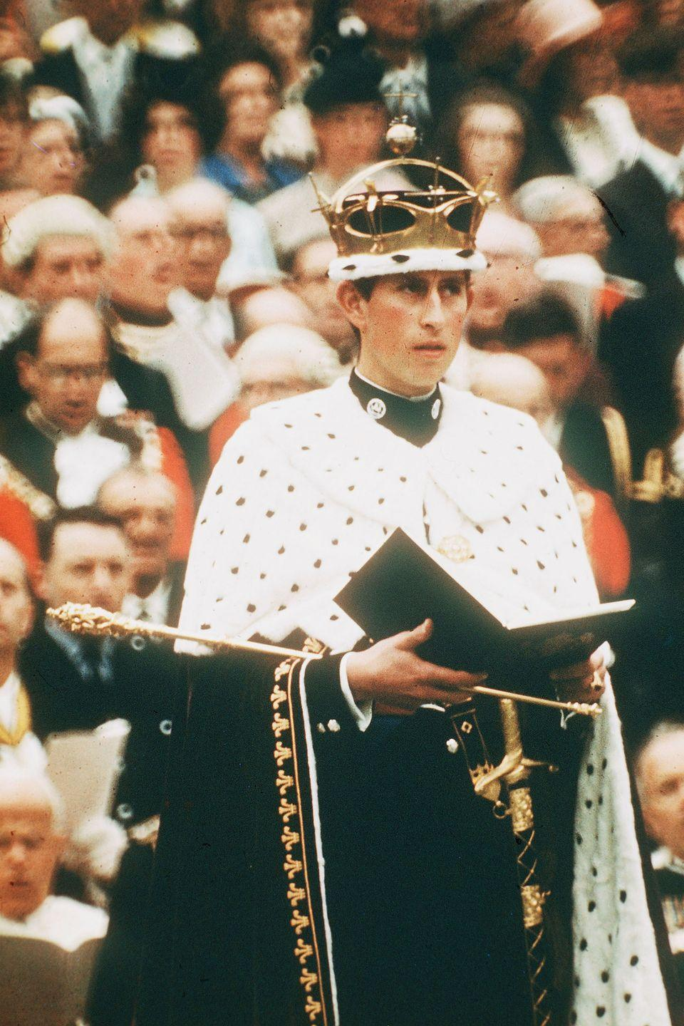 <p>At his formal investiture ceremony as Prince of Wales at Caernarfon Castle.</p>