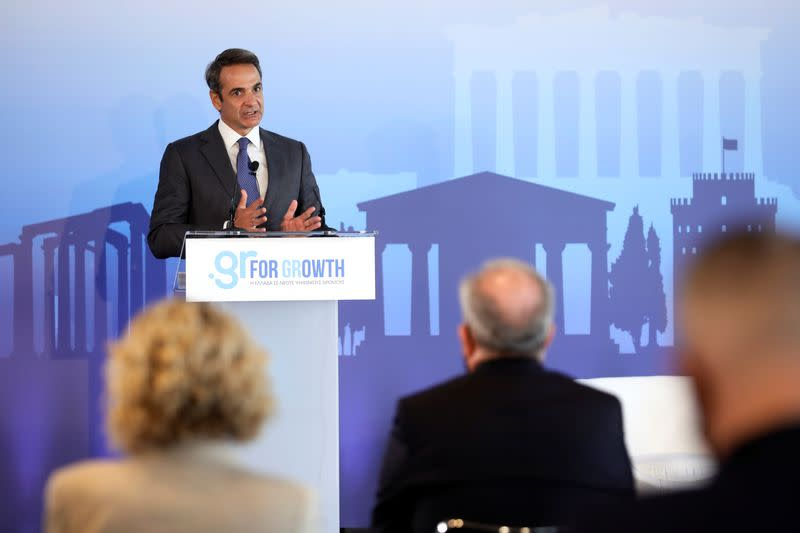 Greek Prime Minister Kyriakos Mitsotakis speaks during an event on Microsoft new investment in Greece