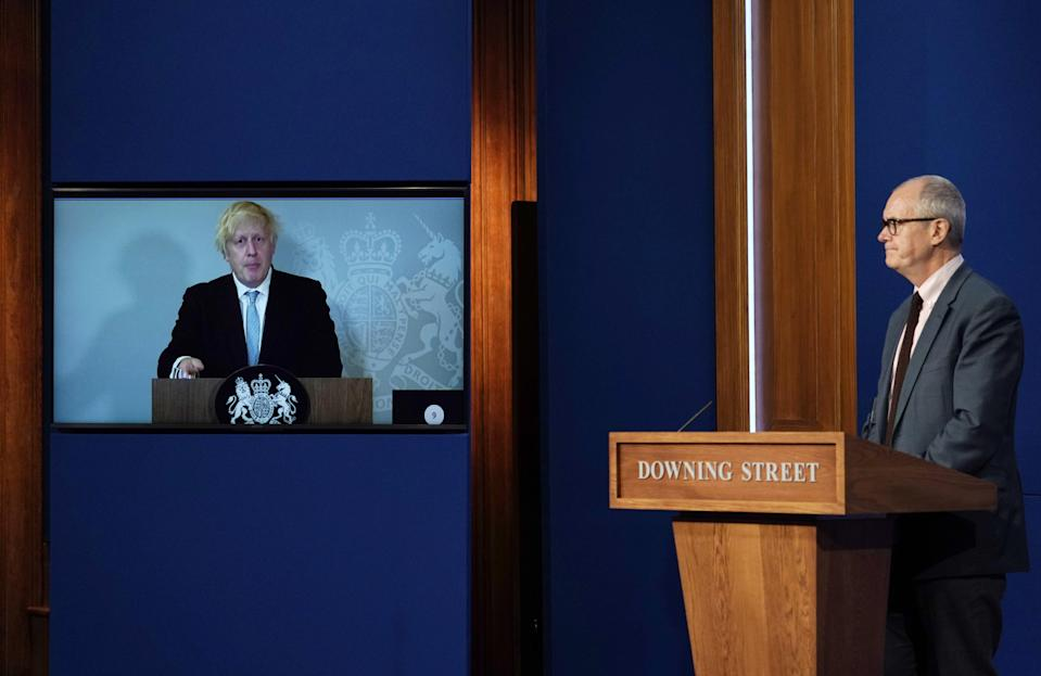 Prime Minister Boris Johnson appears virtually at the press conference from his self-isolation at Chequers (Alberto Pezzali/PA) (PA Wire)