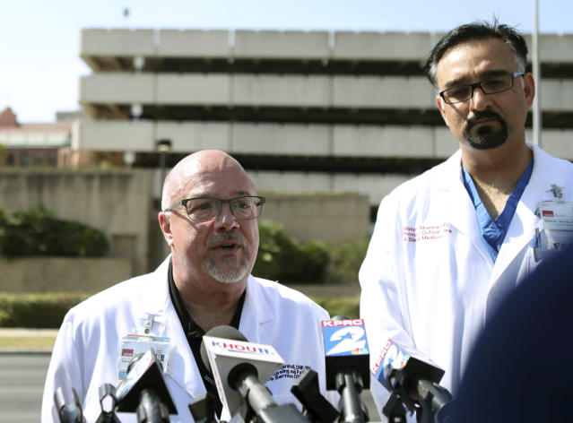 <p>Chief Nursing Officer Dr. David Marshall, left, and Chief Medical and Clinical Officer Dr. Gulshan Sharma give an update on the patients from the Santa Fe High School shooting at the John Sealy Hospital at the University of Texas Medical Branch in Galveston, Texas on Friday, May 18, 2018. (Photo: Kelsey Walling /The Galveston County Daily News via AP) </p>