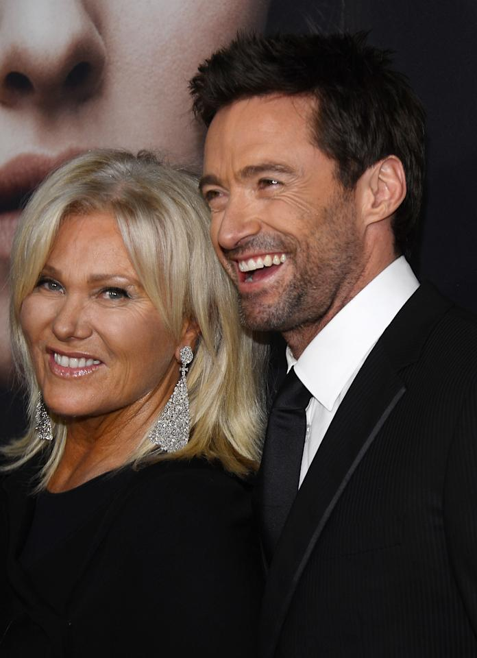 "NEW YORK, NY - DECEMBER 10:  Deborra-Lee Furness and Hugh Jackman attend the ""Les Miserables"" New York premiere at Ziegfeld Theater on December 10, 2012 in New York City.  (Photo by Larry Busacca/Getty Images)"
