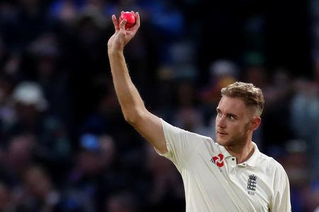 Cricket - England vs West Indies - First Test - Birmingham, Britain - August 19, 2017 England's Stuart Broad celebrates the wicket of West Indies' Shane Dowrich Action Images via Reuters/Paul Childs