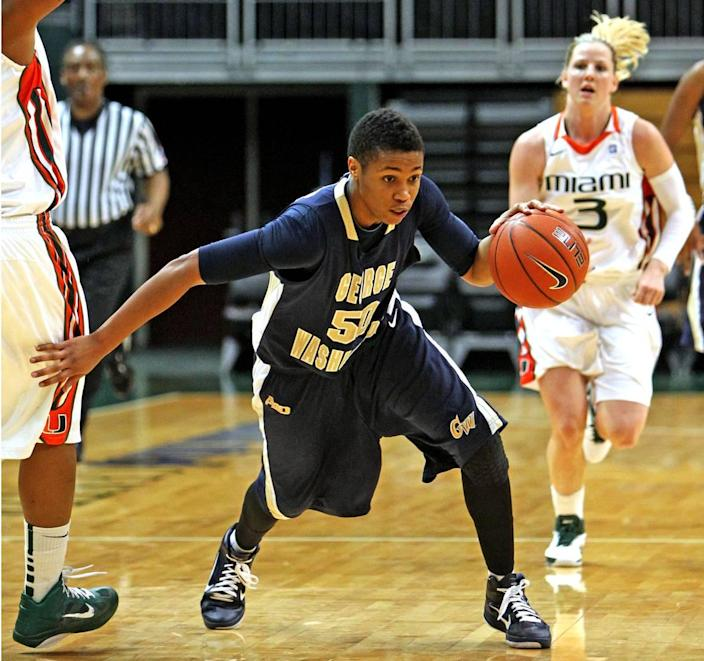George Washington University women's basketball player Kye Allums takes the ball down court against the University of Miami at the BankUnited Center at UM on Dec. 28, 2010. Allums was one of the first openly transgender student-athletes to compete in Division 1 women's basketball.