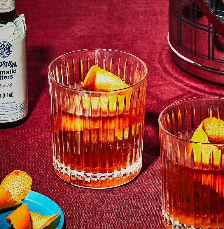 """<p><em>The Old Fashioned is the king of cocktails. The great-grandfather, too, considering that it's the original cocktail. If you can memorize the method to making one, muddling and all, consider that a life skill that'll serve you for years to come. Mix with care—and good bourbon.</em><br></p><p><strong>Ingredients</strong><br>• 2 oz. bourbon<br>• 2 dashes Angostura bitters<br>• 1 sugar cube<br>• club soda </p><p><strong>Directions<br></strong>1. Place the sugar cube in an Old Fashioned glass. <br>2. Wet it down with Angostura bitters and a short splash of club soda.<br>3. Crush the sugar with a wooden muddler, then rotate the glass so that the sugar grains and bitters give it a lining. <br>4. Add a large ice cube. Pour in the whiskey. <br>5. Garnish with an orange twist, and serve with a stirring rod if you're so inclined. <br><br><a class=""""link rapid-noclick-resp"""" href=""""https://www.esquire.com/food-drink/drinks/recipes/a3880/old-fashioned-drink-recipe/"""" rel=""""nofollow noopener"""" target=""""_blank"""" data-ylk=""""slk:Read More"""">Read More</a><br></p>"""