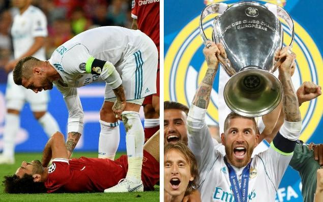 With Sergio Ramos skipping along with the trophy and Florentino Perez, the president, hugging Gareth Bale, this should have been one of the great coronations. Instead, there was a darkness about Real Madrid's hat-trick of Champions League titles. There is always at this level, you could argue, because elite football is about power, financial and political. Yet Bale, despite being hugged by Perez, is cheesed-off in Madrid, and sounded as if he wanted to leave. Cristiano Ronaldo used the occasion of the club's 13th European title to suggest the curtain was falling on his time at the Bernabeu. And Ramos, whose tangle with Mohamed Salah removed Liverpool's best player after less than half an hour, gave reporters a smug grin when asked to stop and discuss the game. Unless Ramos has a rhino's hide, or never looks at this phone, he would have felt less untouchable when Sunday morning dawned. With two incidents in Real Madrid's 3-1 win, La Liga's all-time record holder for red and yellow cards managed to offend the whole of Egypt and the global clan of Liverpool fans. Not a good night's work. The indignation was startling. And that was before fresh footage showed a separate clash, in the 49th minute, where Ramos ran into the Liverpool penalty box and used his shoulder to strike the head of Loris Karius, the Liverpool keeper, who endured a miserable night. In der 49. Minute bekommt @LorisKarius den Ellenbogen von @SergioRamos ab. Zwei Minuten später folgt sein erster Patzer. #RMALFC#UCLFinalpic.twitter.com/dv0far0rva— ZDF Sport (@ZDFsport) May 26, 2018 Karius, who was banjoed by Ramos in his own six-yard box, without sympathy or help from the referee, two minutes later rolled a ball straight at Karim Benzema's outstretched leg to put Real Madrid in front. Heading for greater prominence in the hall of infamy was the wrestling match that may have ended Salah's hopes of representing Egypt in next month's World Cup - and certainly blew a hole in Liverpool's chance of winning a s