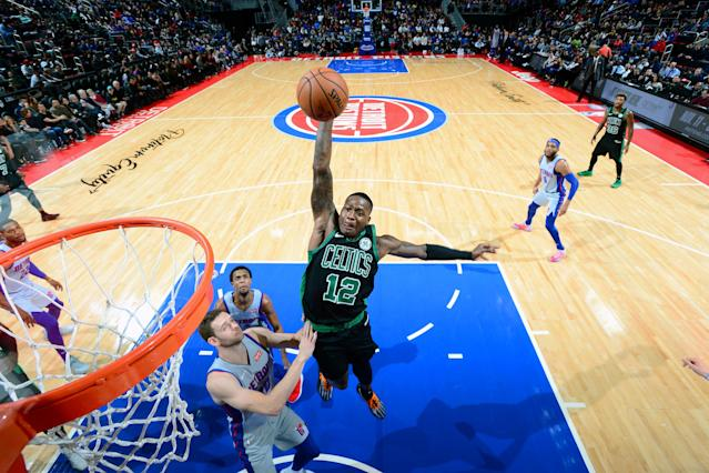 DETROIT, MI - OCTOBER 27: Terry Rozier #12 of the Boston Celtics dunks the ball against the Detroit Pistons on October 27, 2018 at Little Caesars Arena in Detroit, Michigan. (Photo by Chris Schwegler/NBAE via Getty Images)