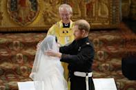 <p>Prince Harry and his best man the Duke of Cambridge both wore the frockcoat uniform of the Blues and Royals. (Getty) </p>