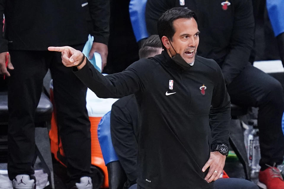 Miami Heat coach Erik Spoelstra argues a call during the second half of the team's NBA basketball game against the Boston Celtics, Tuesday, May 11, 2021, in Boston. (AP Photo/Charles Krupa)
