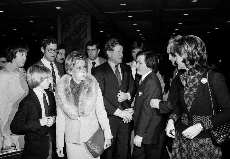 Ted Kennedy, center, shakes hands after leaving breakfast in Chicago in 1979 in Chicago with Mayor Jane Byrne (wearing the fur collar) and his son Patrick, 12. Kennedy began his first full day of campaigning for the Democratic presidential nomination. At right is Kennedy's sister, Pat Lawford.
