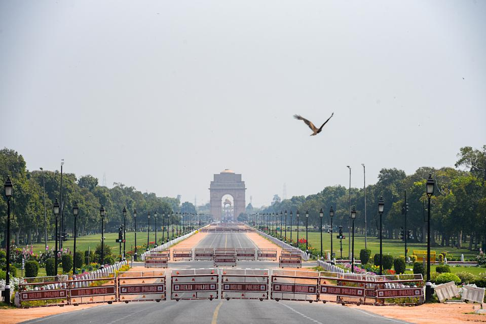 NEW DELHI, INDIA - MARCH 22: A deserted view of India Gate, on March 22, 2020 in New Delhi, India. PM Modi proposed a 'Janata curfew' for the day between 7 am and 9 pm as part of social distancing to check the spread of the coronavirus. Nearly a billion Indians stayed indoors on Sunday, heeding Prime Minister Narendra Modi's appeal to citizens to self-isolate as authorities battle to contain the fast-spreading coronavirus pandemic. (Photo by Amal KS/Hindustan Times via Getty Images)