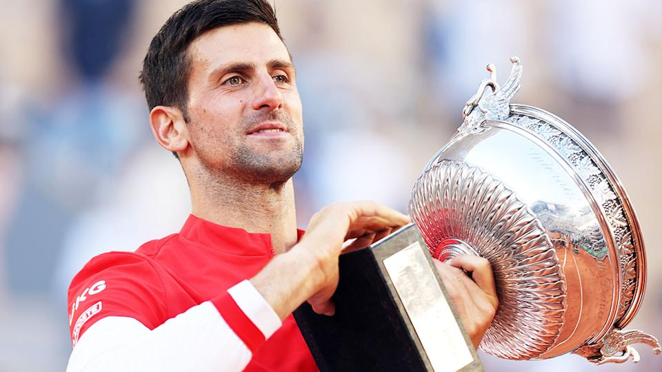 Novak Djokovic, pictured here with the trophy after winning the French Open.