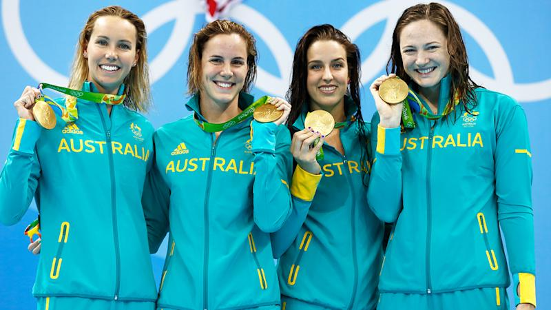 Emma McKeon, Bronte Campbell, Brittany Elmslie, and Cate Campbell, pictured here at the Rio 2016 Olympics.