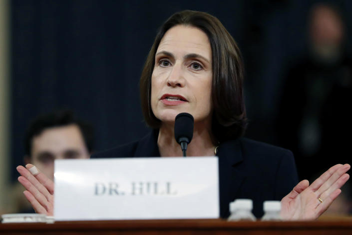 FILE - In this Nov. 21, 2019 file photos, former White House national security aide Fiona Hill, testifies before the House Intelligence Committee on Capitol Hill in Washington, during a public impeachment hearing of President Donald Trump's efforts to tie U.S. aid for Ukraine to investigations of his political opponents. Hill was Donald Trump's Russia adviser and a central figure in his first presidential impeachment. Hill now has a book out detailing her White House experiences. (AP Photo/Andrew Harnik)