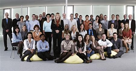 A group photo of staff at Swiss based AC Immune