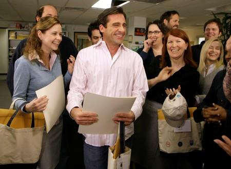"""FILE PHOTO: Actor Steve Carell laughs along with other members of """"The Office"""" cast in Panorama City"""
