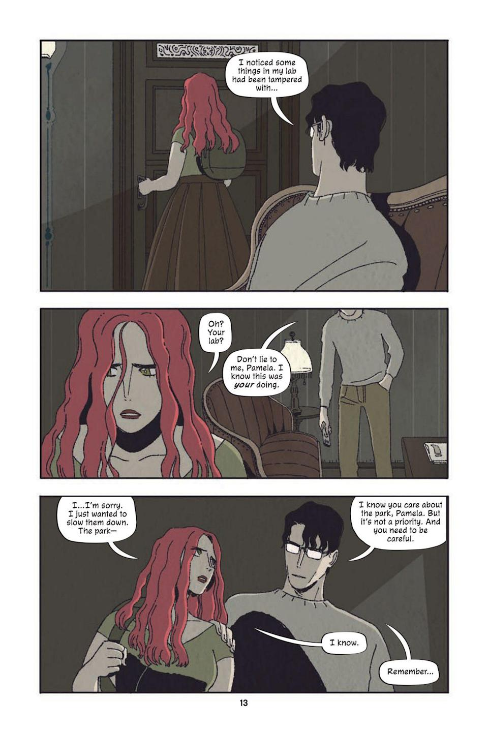 A page from Poison Ivy Thorns shows Ivy's dad being a creep