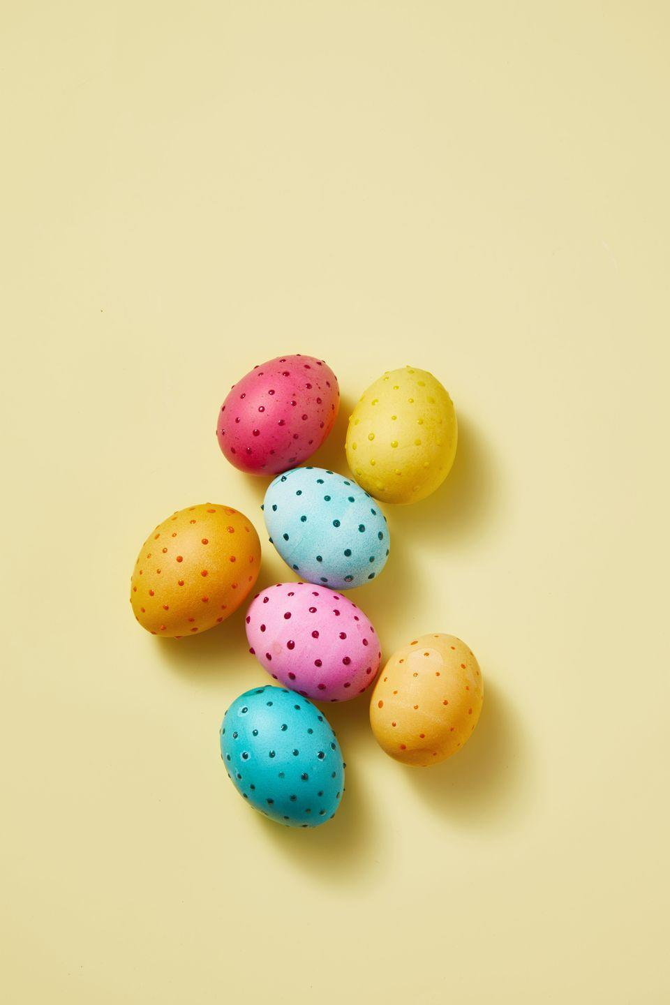 """<p>These eggs are a must for this year's hunt! Pro-tip: For colors that pop, mix one teaspoon of vinegar per one cup of warm water, adding 10 to 20 drops of gel dye. </p><p><a class=""""link rapid-noclick-resp"""" href=""""https://www.amazon.com/Food-Coloring-AmeriColor-Student-Bottles/dp/B01E0HBUSE?tag=syn-yahoo-20&ascsubtag=%5Bartid%7C10055.g.2217%5Bsrc%7Cyahoo-us"""" rel=""""nofollow noopener"""" target=""""_blank"""" data-ylk=""""slk:BUY EGG DYEING KIT"""">BUY EGG DYEING KIT</a> </p>"""
