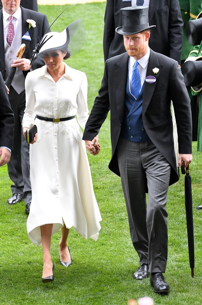 """<div class=""""caption""""> Meghan, Duchess of Sussex and Prince Harry, Duke of Sussex attend Royal Ascot Day 1 at Ascot Racecourse on June 19, 2018 in Ascot, United Kingdom. </div> <cite class=""""credit"""">Karwai Tang</cite>"""