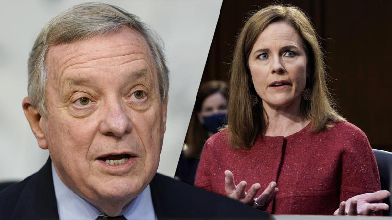 Sen. Dick Durbin, D-Ill., and Judge Amy Coney Barrett. (Susan Walsh, Pool via AP, Drew Angerer/Pool via Reuters)