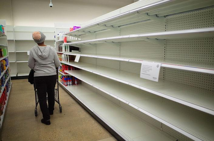 store shelves empty cleaning products