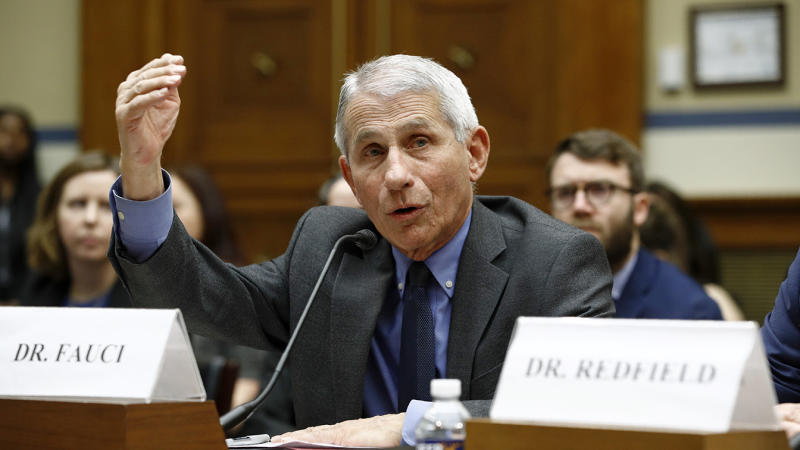 Dr. Anthony Fauci, director of the National Institute of Allergy and Infectious Diseases, testifies before a House Oversight Committee hearing on preparedness for and response to the coronavirus outbreak on Capitol Hill in Washington, Wednesday, March 11, 2020. (Patrick Semansky/AP)