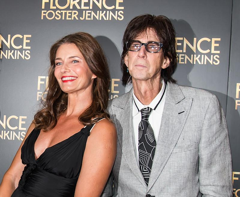 NEW YORK, NY - AUGUST 09: Paulina Porizkova and Ric Ocasek attend the 'Florence Foster Jenkins' New York premiere at AMC Loews Lincoln Square 13 theater on August 9, 2016 in New York City. (Photo by Gilbert Carrasquillo/FilmMagic)