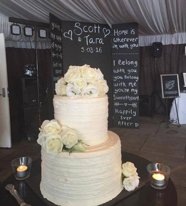 This is the cake that Tara had chosen for her special day, which was later smashed to pieces by Blake James. Photo: Gavin Cato
