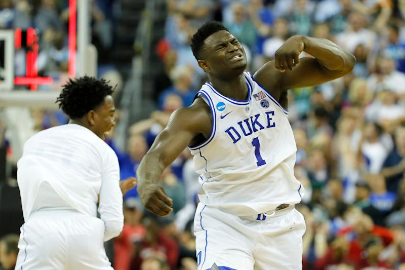 COLUMBIA, SOUTH CAROLINA - MARCH 24: Zion Williamson #1 of the Duke Blue Devils celebrates with his teammates after defeating the UCF Knights in the second round game of the 2019 NCAA Men's Basketball Tournament at Colonial Life Arena on March 24, 2019 in Columbia, South Carolina. (Photo by Kevin C. Cox/Getty Images)