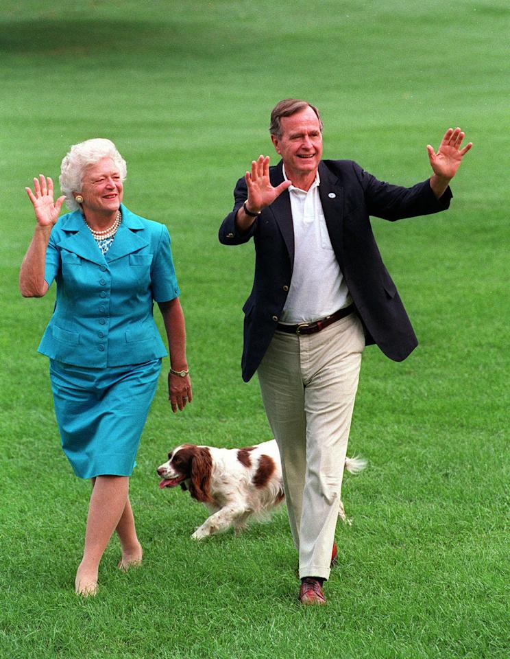 President and Mrs. Bush walk with Millie across the South Lawn as they return to the White House in an Aug. 24, 1992, file photo. Millie, a springer spaniel who was ``first dog'' in the Bush White House and namesake of a book that offered a dog's-eye view of the presidency, died Monday, May 19, 1997, at the Bush summer home in Maine. She was 12. (AP Photo/Scott Applewhite, File)