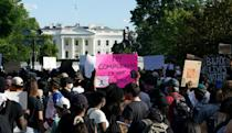 Demonstrators near the White House protest over the death of George Floyd