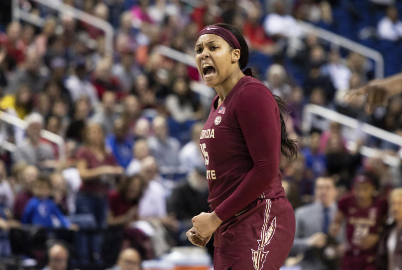Florida State's Kiah Gillespie (15) reacts after a foul was called on Lousivlle during an NCAA college basketball game at the Atlantic Coast Conference women's tournament in Greensboro, N.C., Saturday, March 7, 2020. (AP Photo/Ben McKeown)
