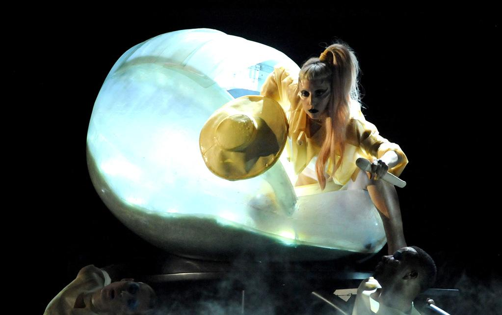 """According to the <i>Mirror</i>, Lady Gaga is spending about $2 million to redecorate her New York apartment, and wants to """"install her giant Grammys stage egg as a bed."""" The British tab reports that Gaga will """"be able to sleep in it, in place of a double bed,"""" and explains, """"when she's in it she feels at peace."""" For how eggs-ited she is about these eggcentric furnishings, check out what a Gaga pal confides to <a href=""""http://www.gossipcop.com/lady-gaga-egg-bed-apartment-new-york/"""" target=""""new"""">Gossip Cop</a>. Jeff Kravitz/<a href=""""http://www.filmmagic.com/"""" target=""""new"""">FilmMagic.com</a> - February 13, 2011"""