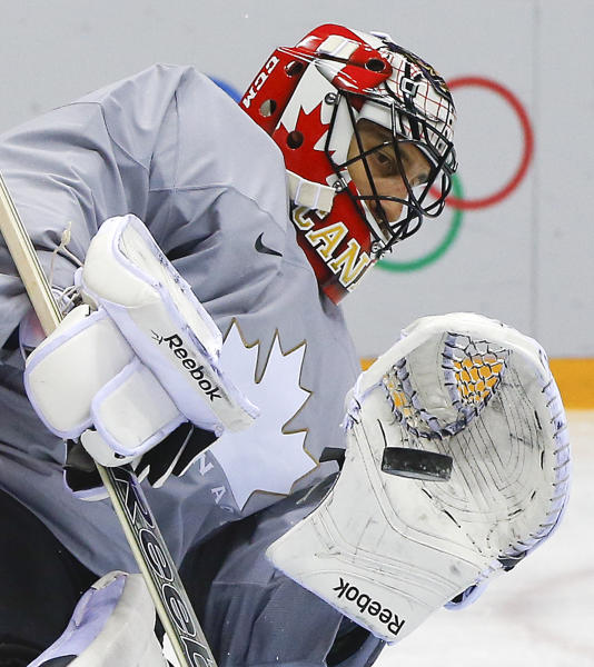 Canada goaltender Roberto Luongo blocks a shot during a training session at the 2014 Winter Olympics, Monday, Feb. 10, 2014, in Sochi, Russia. (AP Photo/Julie Jacobson)
