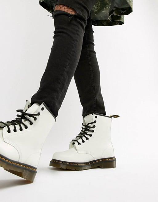 <p><span>Dr. Martens 1460 White Leather Flat Ankle Boots</span> ($148)</p>