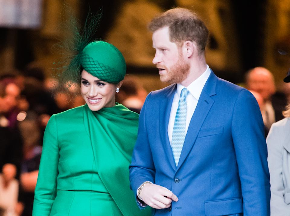 LONDON, ENGLAND - MARCH 09:  Prince Harry, Duhcess of Sussex and Meghan, Duchess of Sussex attend the Commonwealth Day Service 2020 on March 09, 2020 in London, England. (Photo by Samir Hussein/WireImage)