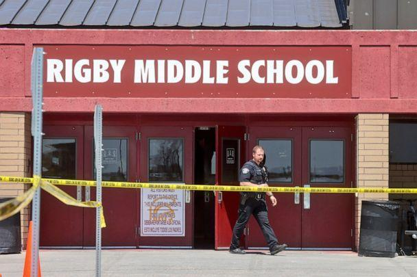 PHOTO: A police officer walks out of Rigby Middle School following a shooting there earlier Thursday, May 6, 2021, in Rigby, Idaho. (Natalie Behring/AP, FILE)