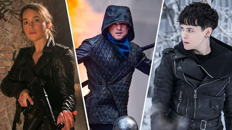Terminator: Genisys, Robin Hood, and Girl in the Spider's Web all struggled at the box office. (Paramount/Lionsgate/Sony Pictures)