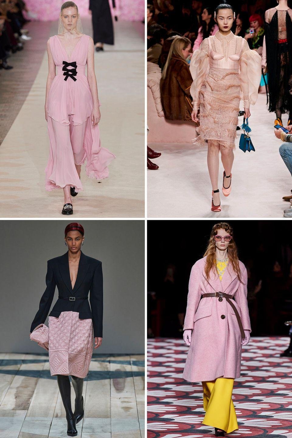 <p>Pink has long been a romantic color among the fashion set, but it's staging a triumphant comeback in a pastel hue this season. Sorbet pink hit the fall 2020 runways in dress, coat, quilted skirt, and even eyewear form. It's a soft approach to adding color to your wardrobe.</p><p><em>Clockwise from top left: Giambattista Valli, Fendi, Miu Miu, Alexander McQueen</em></p>