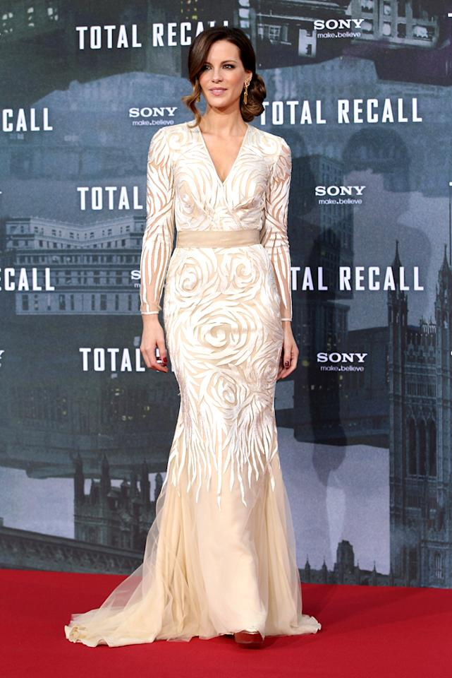 "When <i>doesn't</i> Kate Beckinsale stun on the red carpet? The 39-year-old actress worked her magic yet again while posing at the Berlin premiere of ""Total Recall"" on Monday in a nude-and-ivory swirl embroidered gown from Naeem Khan's Fall 2012 collection. A low chignon and gold Neil Lane earrings completed her lovely ensemble. (8/13/2012)"