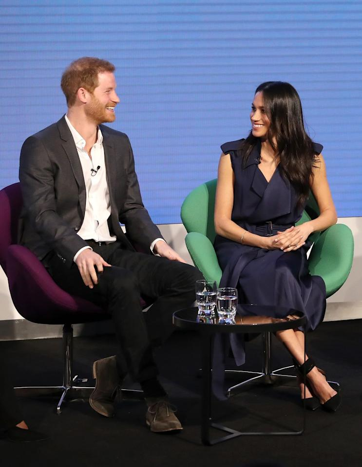 "<p>For the first ever Royal Foundation Forum, Markle wore a striking <a href=""https://www.net-a-porter.com/gb/en/product/992242"" target=""_blank"">blue wrap dress by Jason Wu</a>, paired with black pumps with an ankle detail.</p><p><a class=""body-btn-link"" href=""https://go.redirectingat.com?id=74968X1596630&url=https%3A%2F%2Fshop.nordstrom.com%2Fs%2Fjason-wu-crepe-back-satin-belted-wrap-dress%2F4761825&sref=http%3A%2F%2Fwww.townandcountrymag.com%2Fstyle%2Ffashion-trends%2Fg3272%2Fmeghan-markle-preppy-style%2F"" target=""_blank"">SHOP NOW</a> <em>Jason Wu C</em><em>repe Back Satin Belted Wrap Dress, $1,795 </em></p><p><a class=""body-btn-link"" href=""https://go.redirectingat.com?id=74968X1596630&url=https%3A%2F%2Fwww.matchesfashion.com%2Fus%2Fproducts%2FAquazzura-Casablanca-multi-strap-suede-pumps-1183202&sref=http%3A%2F%2Fwww.townandcountrymag.com%2Fstyle%2Ffashion-trends%2Fg3272%2Fmeghan-markle-preppy-style%2F"" target=""_blank"">SHOP NOW</a> <em>Aquazzura Casablanca 85 Multi-Strap Suede Pumps, $750</em></p>"