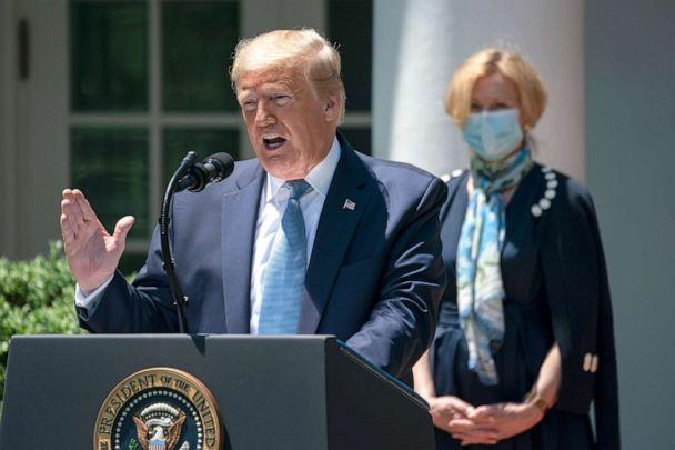 PHOTO: President Donald Trump delivers remarks about coronavirus vaccine development in the Rose Garden of the White House on May 15, 2020 in Washington, DC. (Drew Angerer/Getty Images)