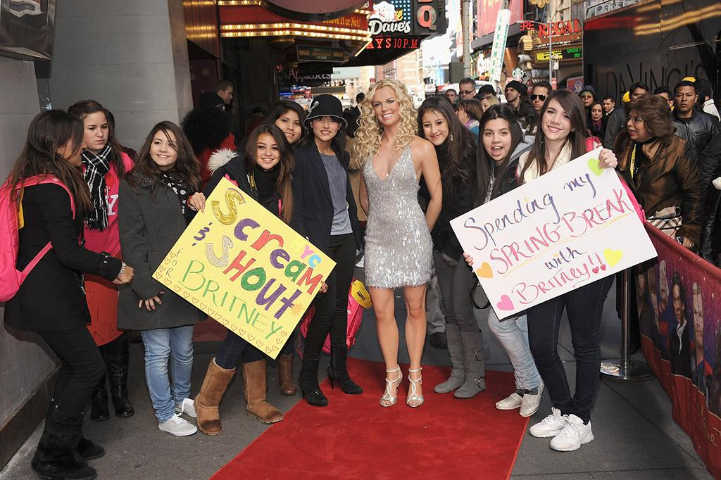 NEW YORK, NY - MARCH 26:  Fans from Mexico visit the Britney Spears Wax Figure Unveiling at Madame Tussauds on March 26, 2013 in New York City.  (Photo by Gary Gershoff/WireImage)