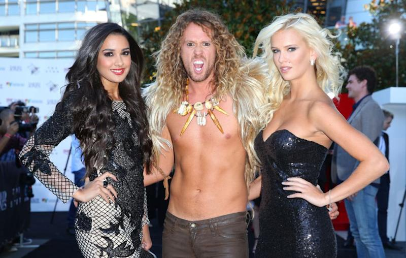 The reality star has previously been romantically linked to Big Brother Australia co-star Jade Albany (R) - the pair pictured with BB housemate Tahan Lew at the 2013 ARIA Awards. Source: Getty