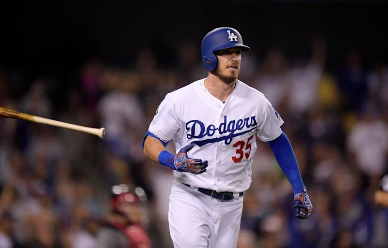 Cody Bellinger left Monday's game after taking a fastball to his knee. (AP)
