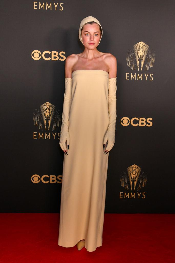 """<p>""""The Crown"""" star chose a high fashion look by Miu Miu for a remote Emmy's celebration in London<em>. (Image via Getty Images)</em></p>"""